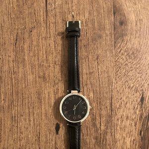 Black faux leather watch